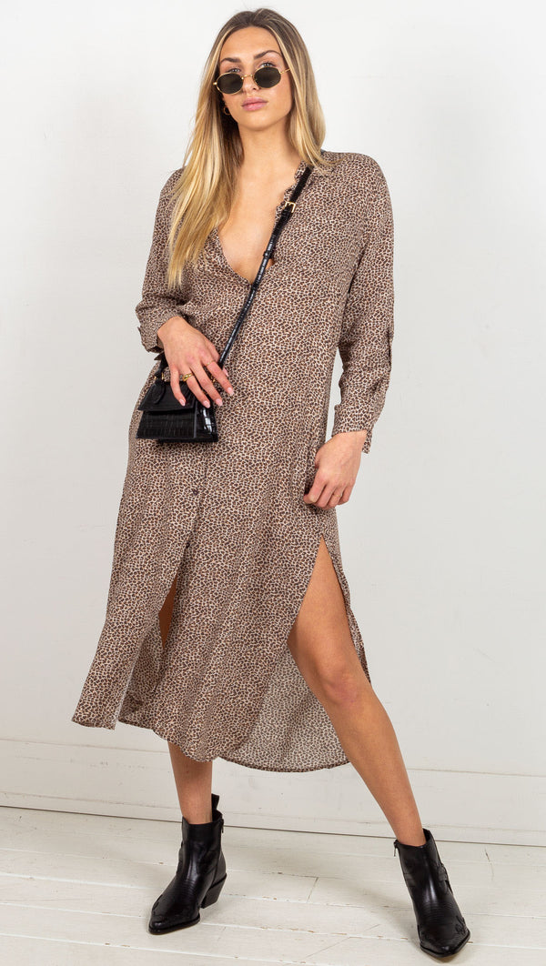 Angeline Button Down Maxi Dress - Brown