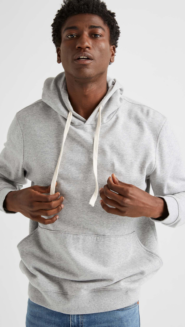 Men's Fleece Pullover Hoodie - Light Heather Grey