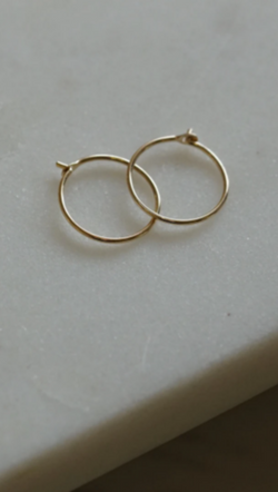 Gjenmi 14K Gold Small Thin Everyday Hoops