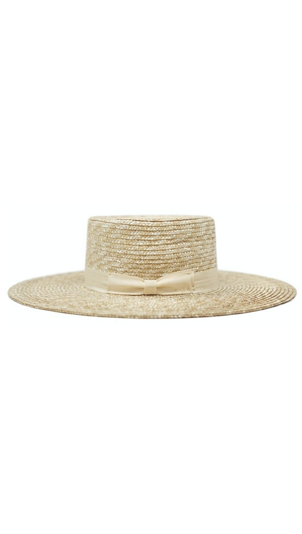 Natural Straw Boater With Flat Top and Ribbon Band