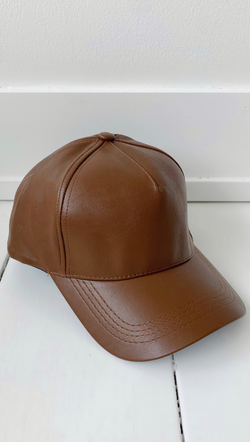 Brown Vegan Leather Baseball Cap