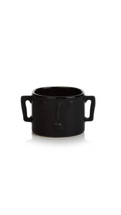 Zodax Black Small Planter Vase With Modern Face and Side Handles
