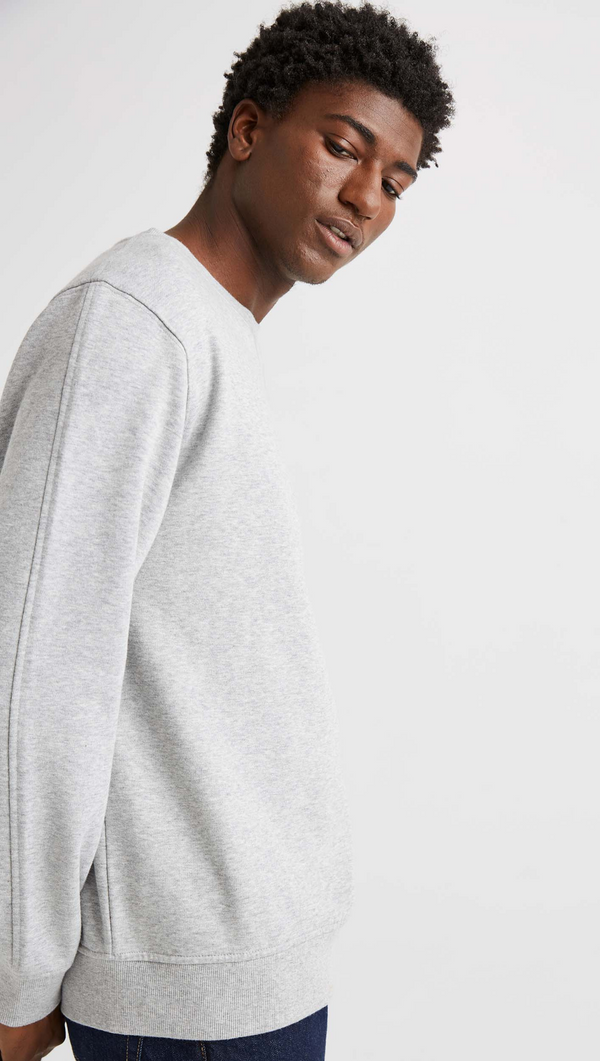 Men's Fleece Sweatshirt - Light Heather Grey