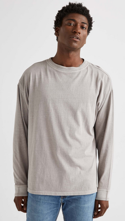 Richer Poorer Men's Washed Grey Long Sleeve Tee