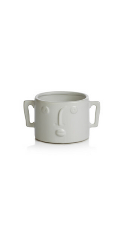 Zodax White Small Planter Vase With Modern Face and Side Handles