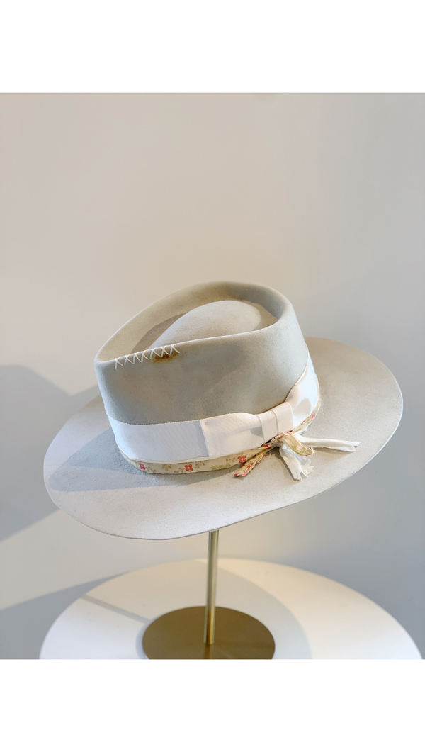 Grey/White Ribbon Band Hat