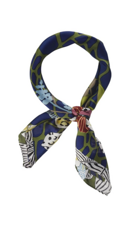 Olive & Pique Blue Floral Printed Silky Scarf