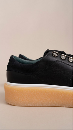 Mint & Rose black leather rubber platform sneakers