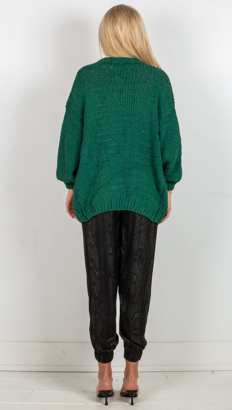 Kalea Knit Cardi - Hunter Green