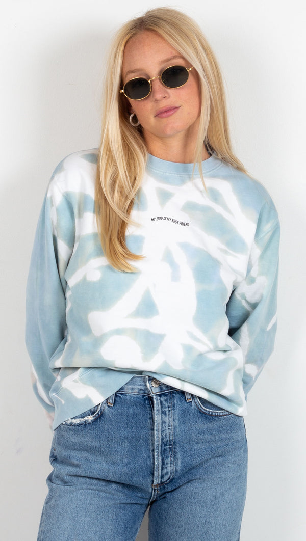 van de vort my dog is my best friend sweatshirt in blue and white tie dye