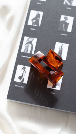 block shaped hair clip brown marble
