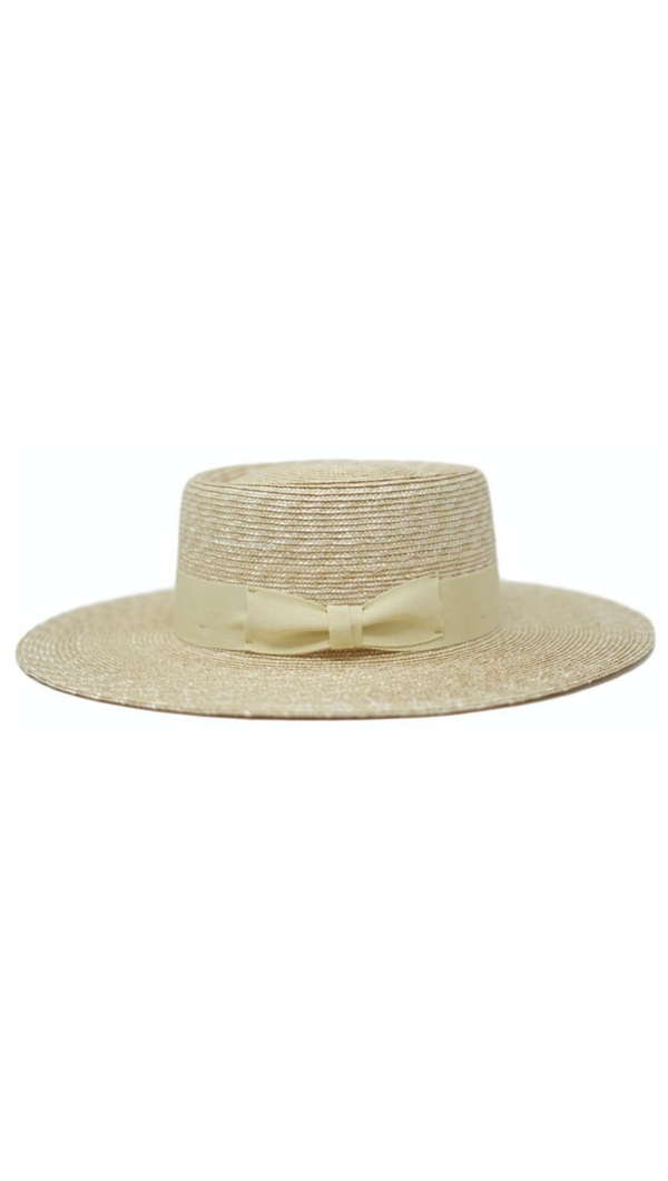 Natural Straw Boater With Round Dipped Crown and Ribbon Band