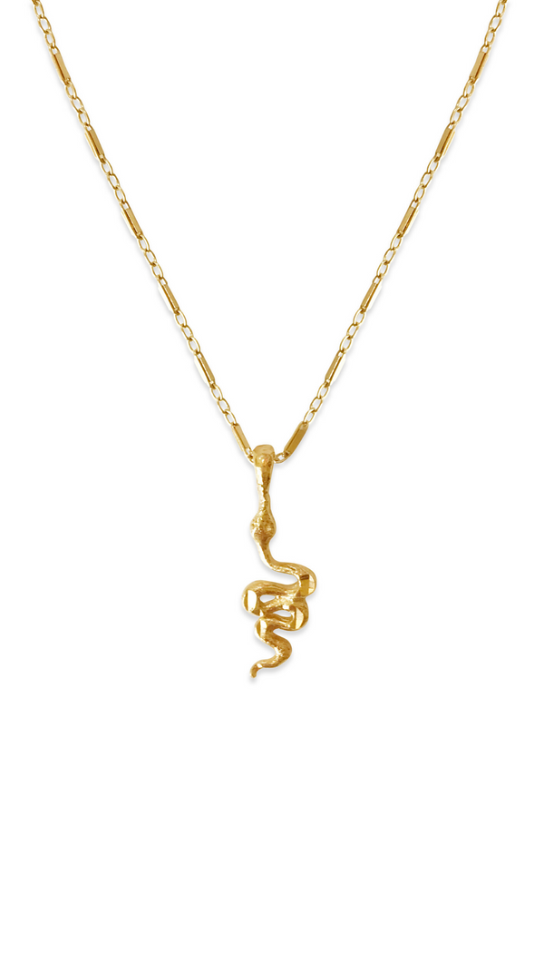 Erin Fader Gold Fill Snake Charm Necklace