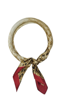 Olive & Pique Beige and Red Crocodile Printed Silky Scarf