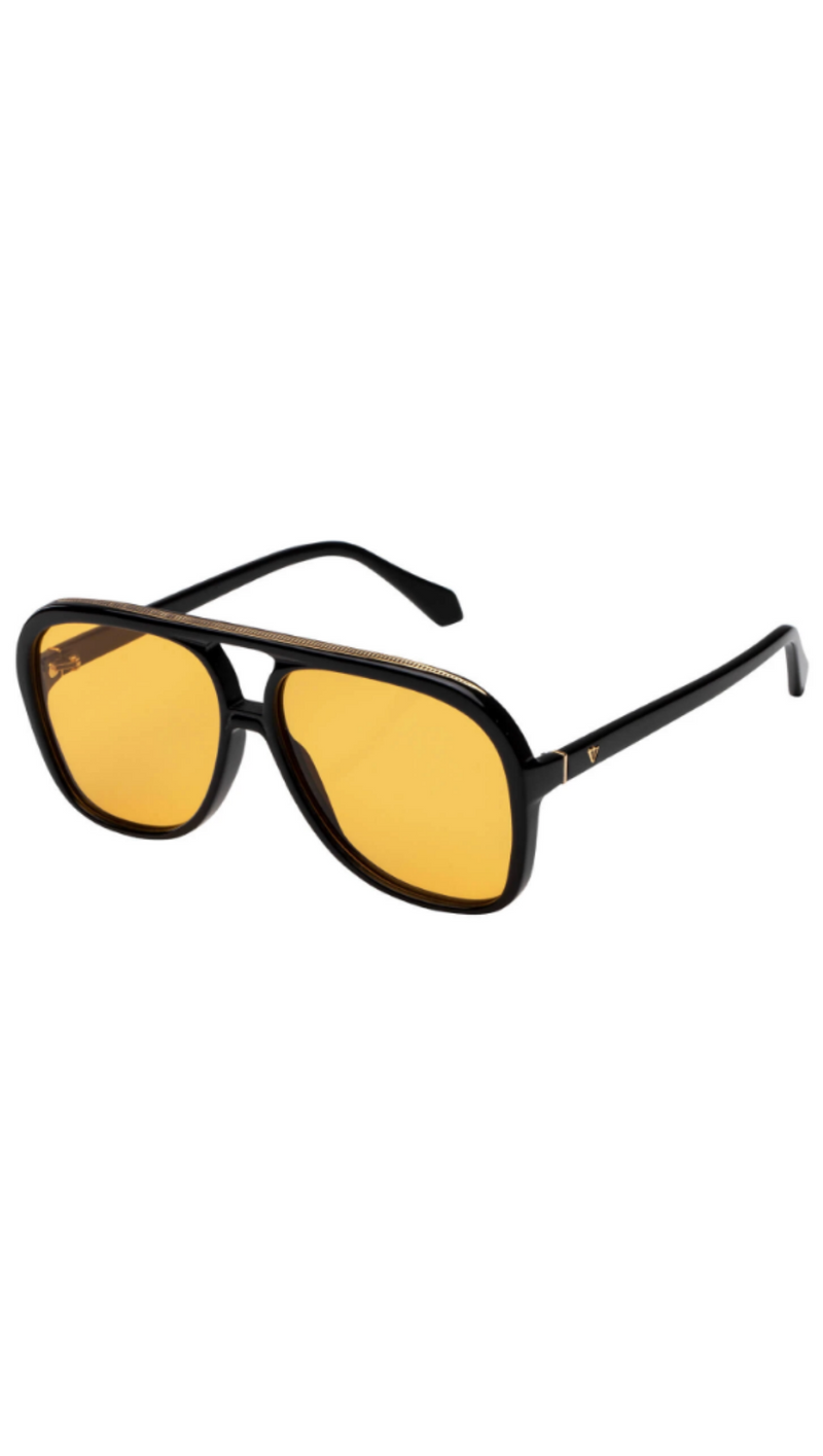 Bang - Gloss Black w/ Gold Metal Trim/Orange Lens