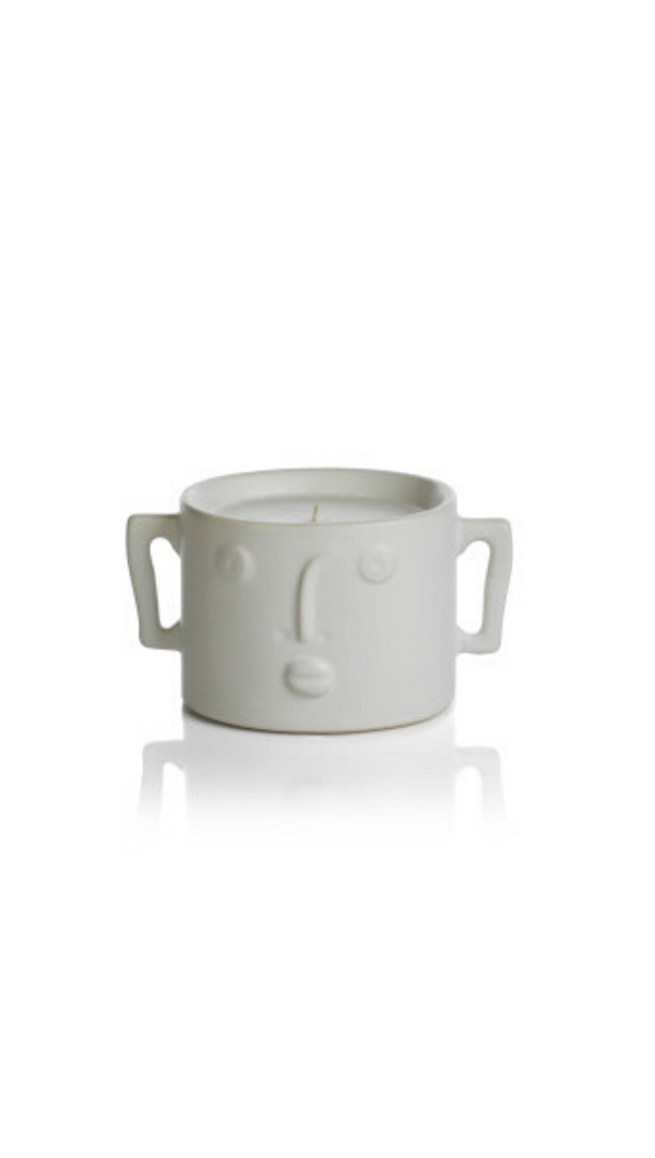 Zodax White Small Fig Vetiver Scented Candle With Modern Face and Side Handles