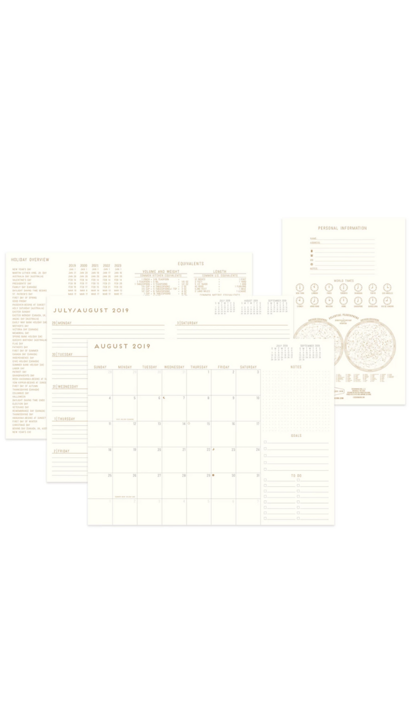 Printed Vegan Leather Monthly Planner - Sonora Geo Geo Plans