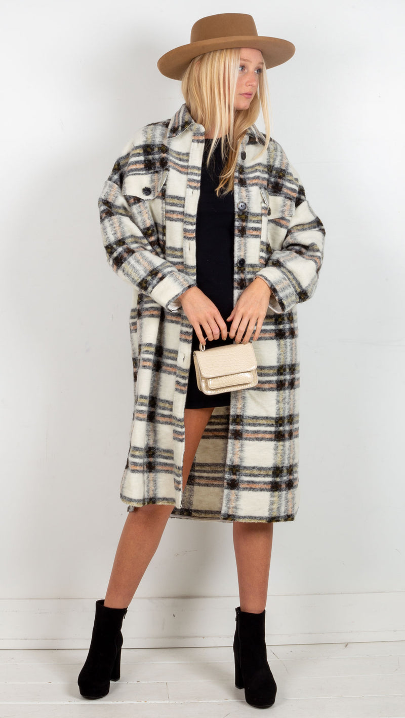 animari over size long plaid jacket cream olive black