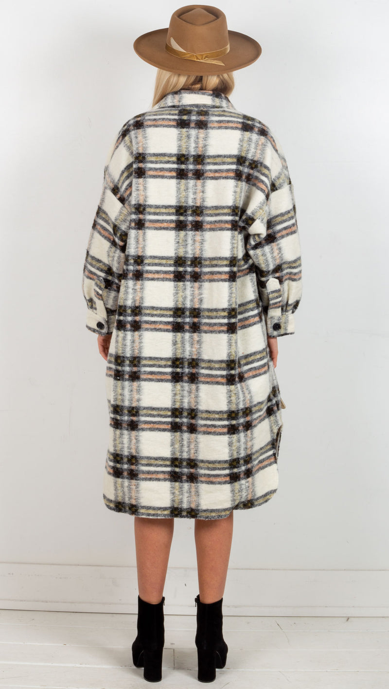 Kendall Plaid Long Jacket - Cream/Olive/Black