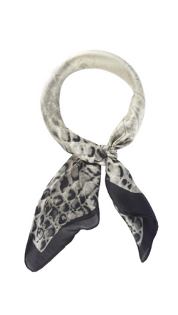 Olive & Pique Grey Crocodile Printed Silky Scarf