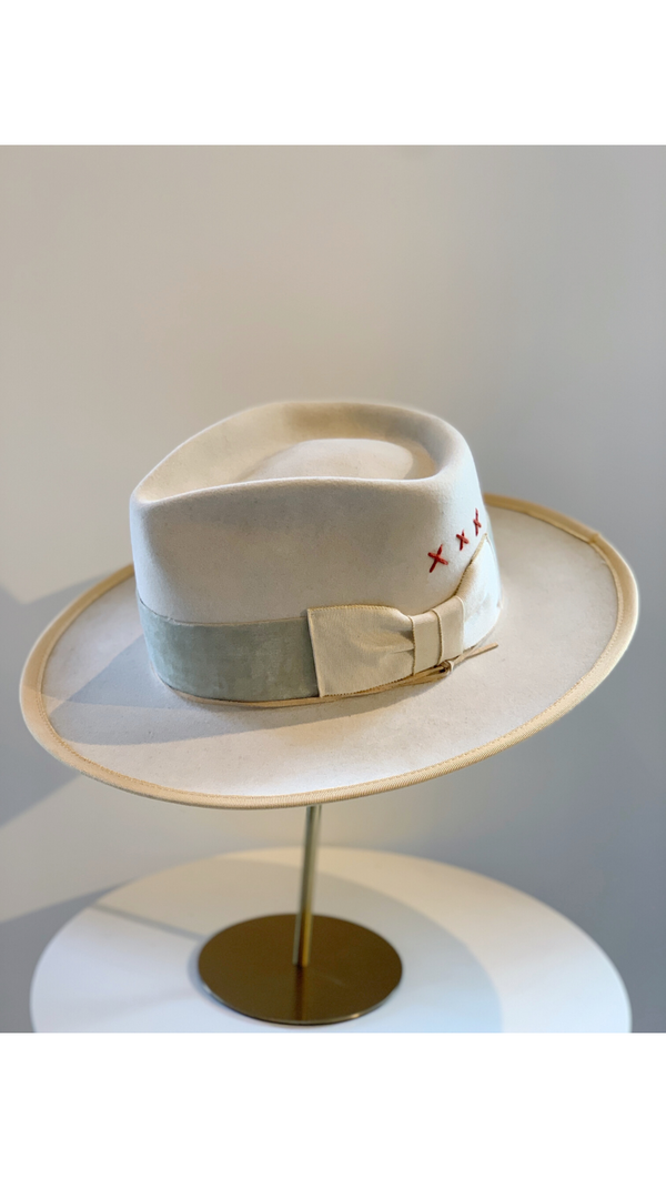 Bone/Velvet Band + Ribbon Trim Hat
