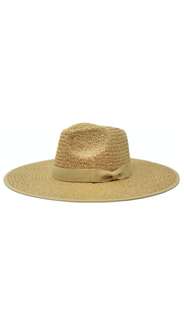 Tan Straw Rancher With Pinched Crown and Ribbon Band