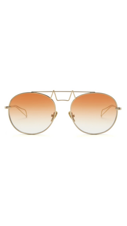 Saint Owen Gold and Amber Round Aviator Sunglasses