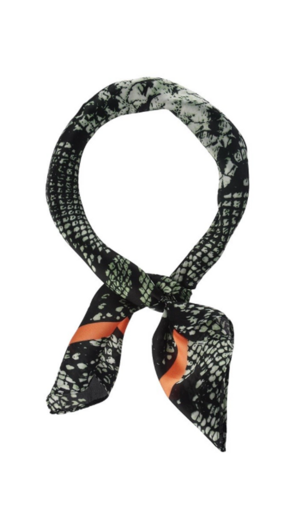 Olive & Pique Black and Green Snakeskin Silky Scarf