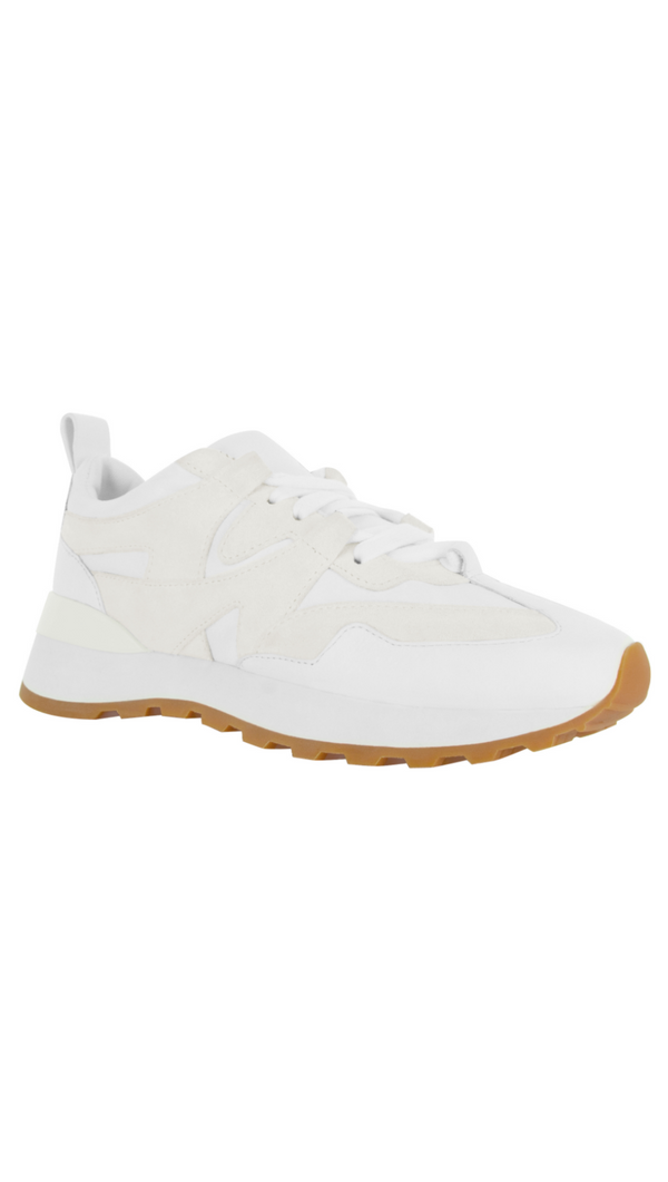 Senso white matte leather sneakers with rubber sole