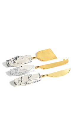 Zodax Set of 3 Cheese Knives With Faux Marble Handles and a Gold/Brass Finish