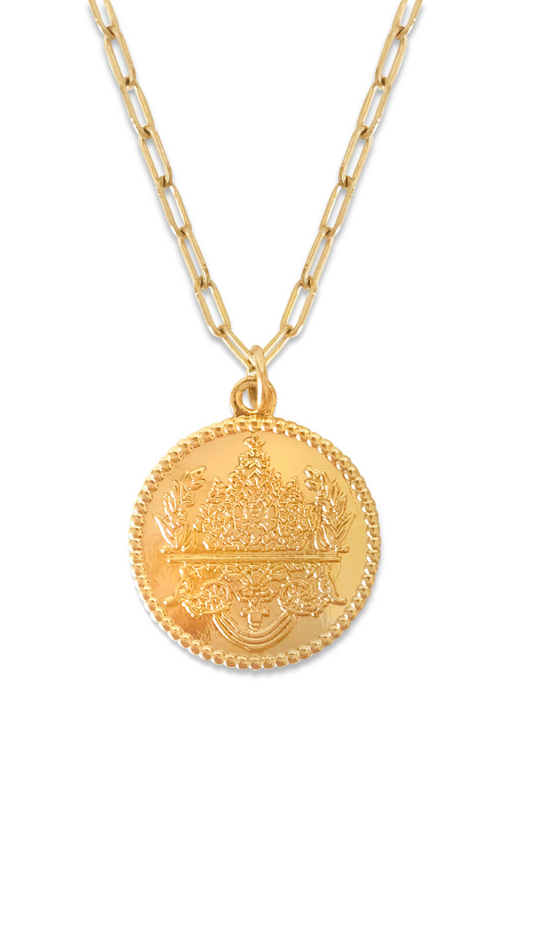 Erin Fader Gold Fill Medallion Pendant Necklace