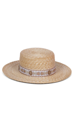 Lack Of Color Straw Boater With Gold Ribbon Trim
