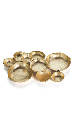 Zodax Gold Cluster of 9 Connected Bowls