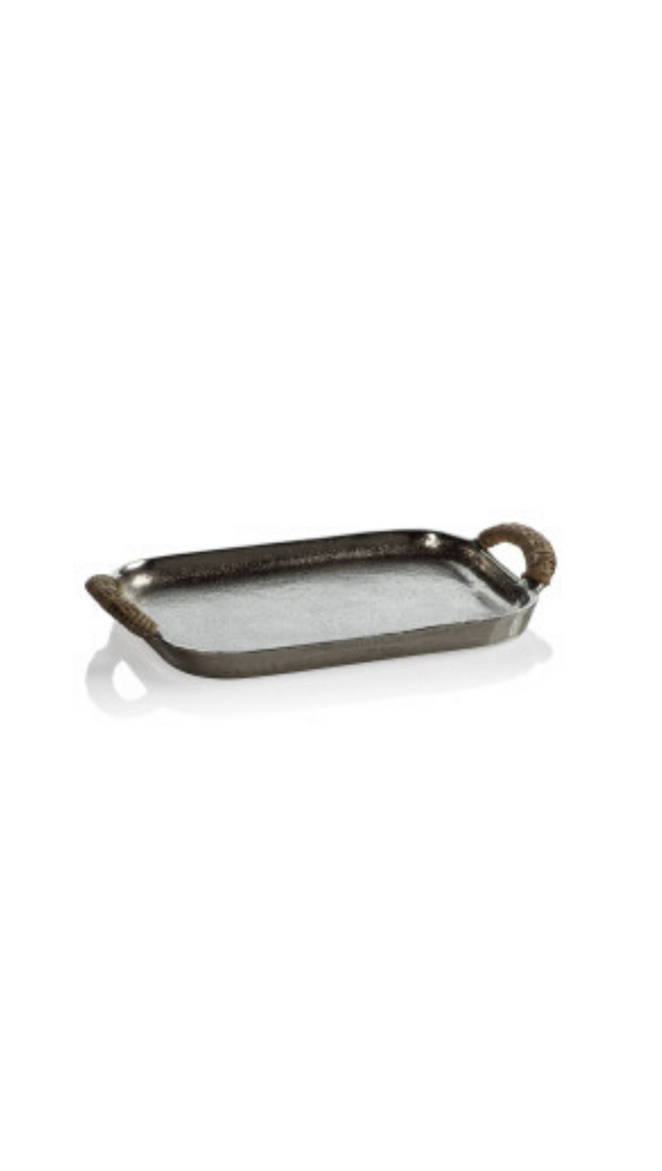 Zodax Mini Hammered Aluminum Tray and Wrapped Handles