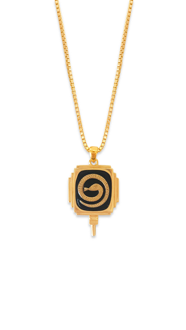 Erin Fader Snake Medallion Gold Fill Necklace