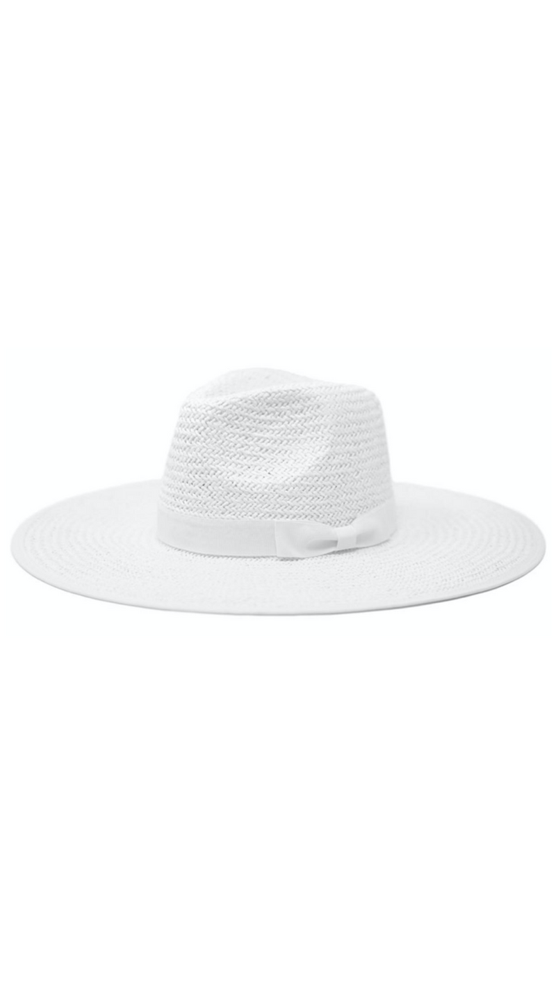 White Straw Rancher With Pinched Crown and Ribbon Band
