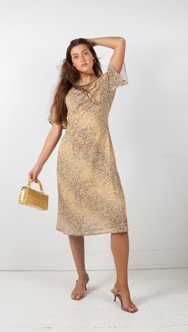 Animal Instincts Bias Tee Dress - Snake