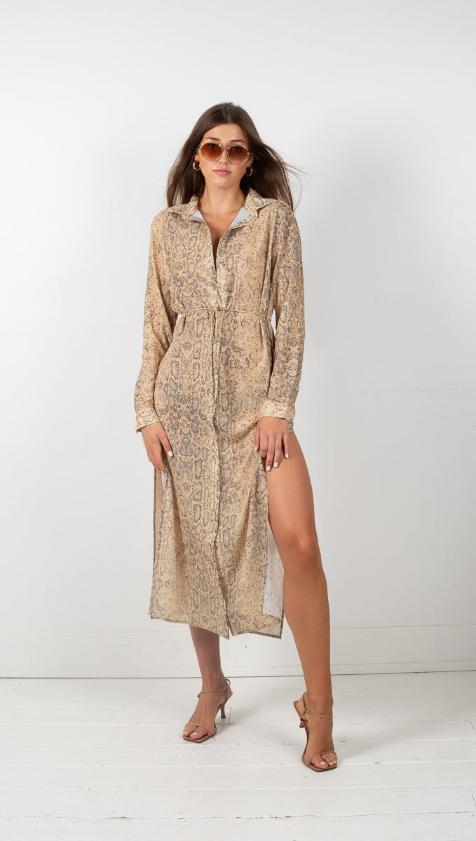 Animal Instincts Shirt Dress - Snake