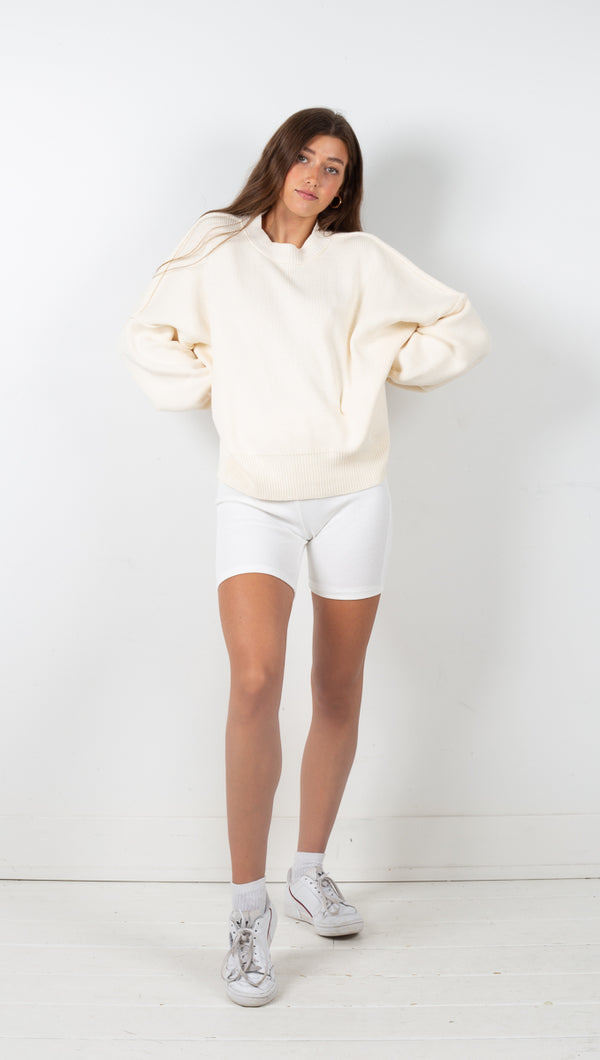 Long Sleeve Knit Sweater - Ivory
