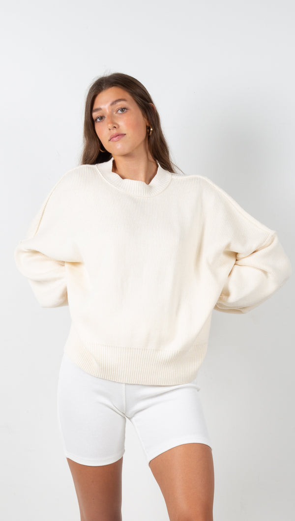 stpl long sleeve knit sweater ivory