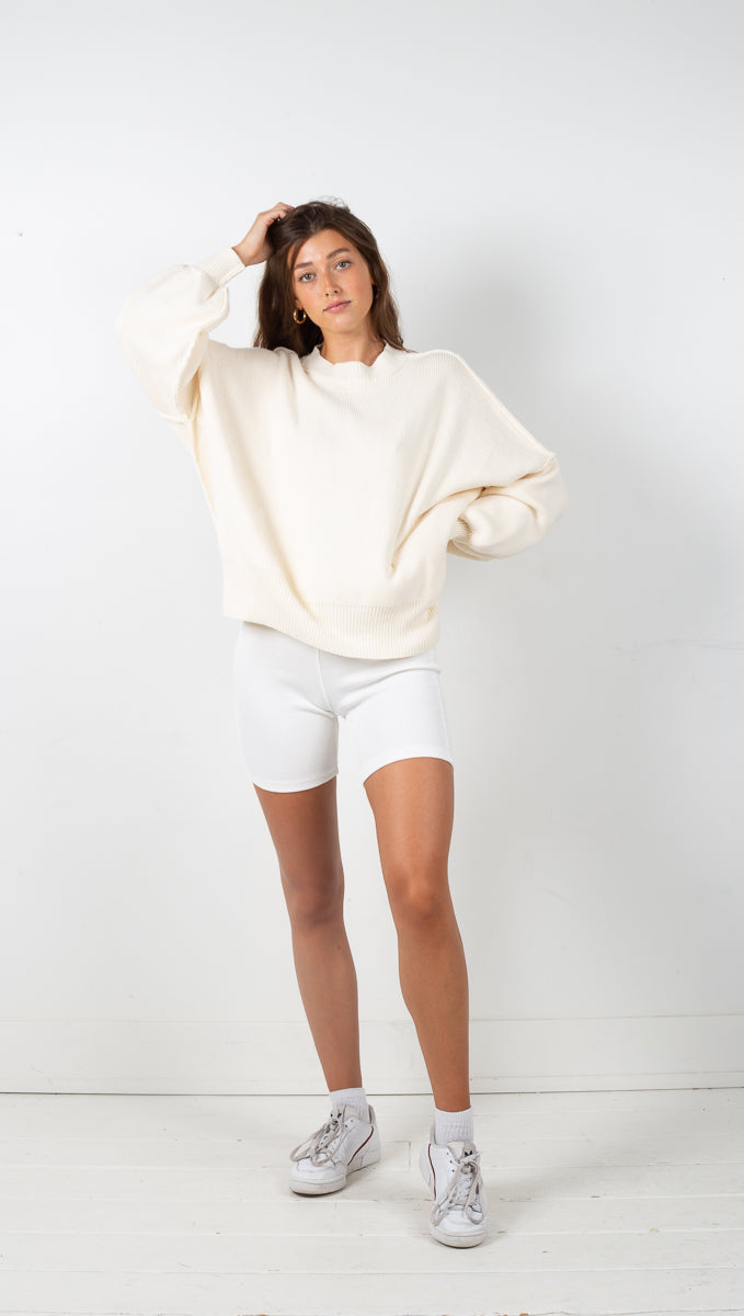 Knit Micro Ribbed Biker Shorts - Off White