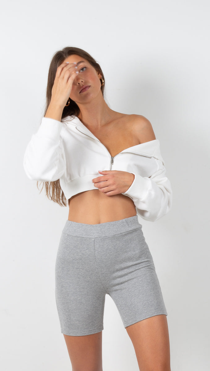 stpl heather grey knit biker shorts