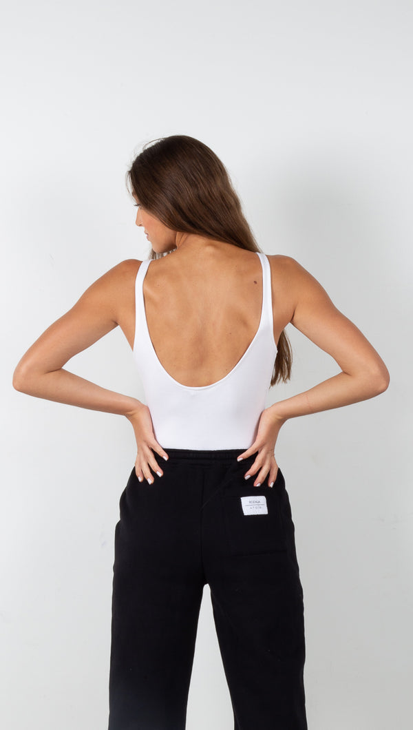 Scoop Back Tank Bodysuit - White