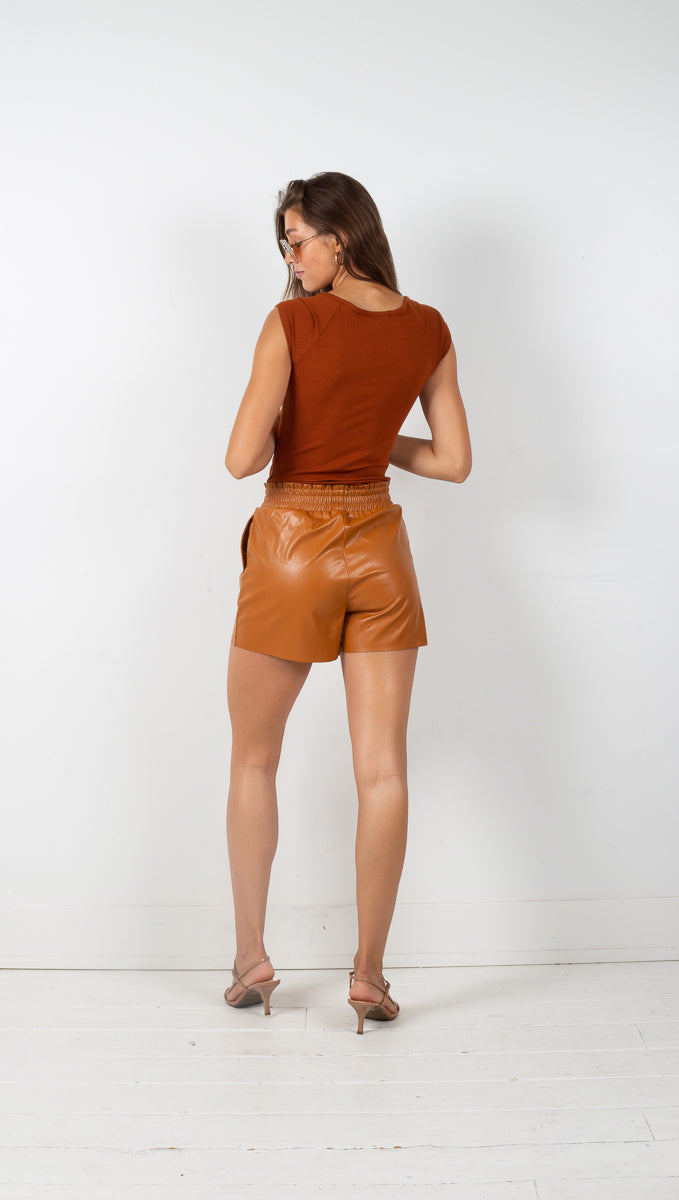 Natalia Paperbag Vegan Leather Shorts - Cognac