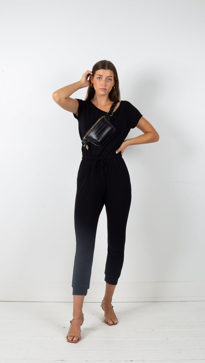 Lila Short Sleeve Jumpsuit - Black