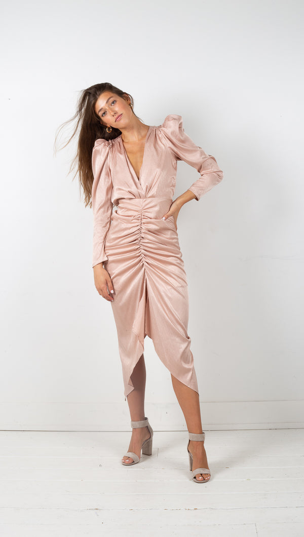 Caila Deep V Neck Long Sleeve Dress - Rose Pink