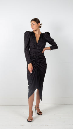 black v neck ruffled puff sleeve long sleeve dress