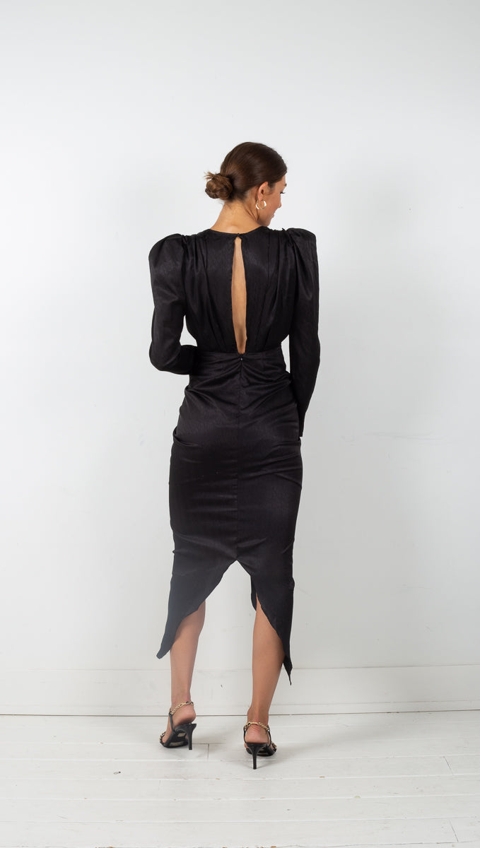 Caila Deep V Neck Long Sleeve Dress - Black