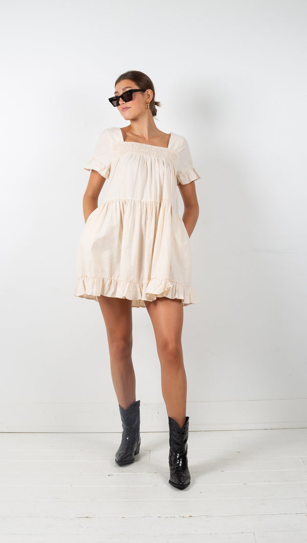 Tuscany Smocked Mini Dress - Beige