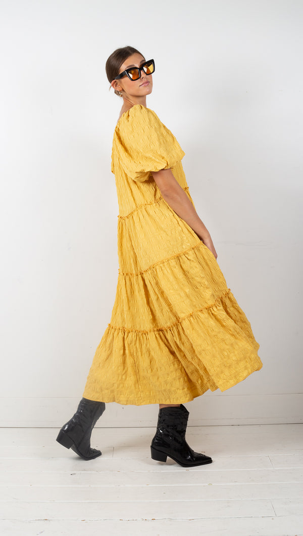 yellow puff sleeve tiered maxi dress